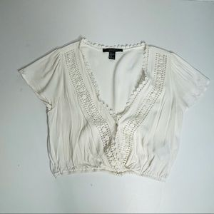 Forever 21 cream Crochet trimmed crop top sz s